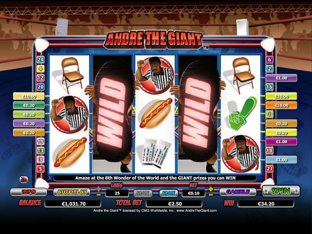 Andre the Giant Microgaming spelautomater screenshot