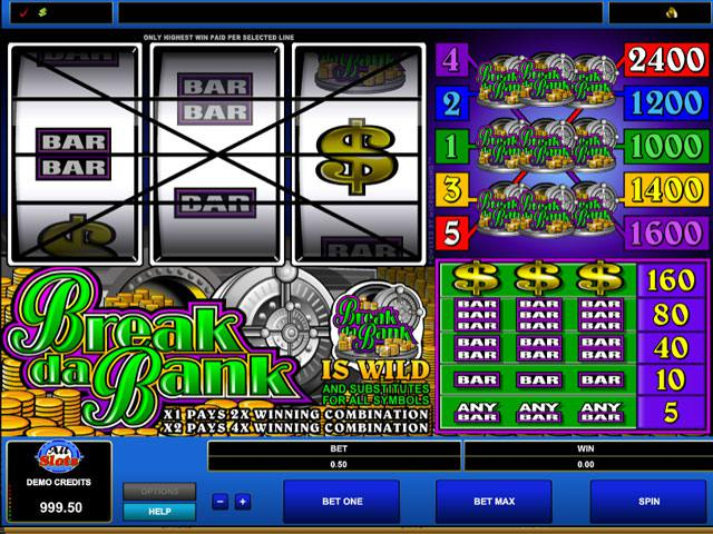 Break Da Bank Microgaming spelautomater screenshot