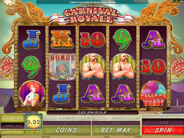 Carnival Royale Microgaming spelautomater screenshot