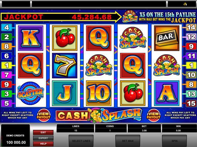 Cash Splash Microgaming spelautomater screenshot