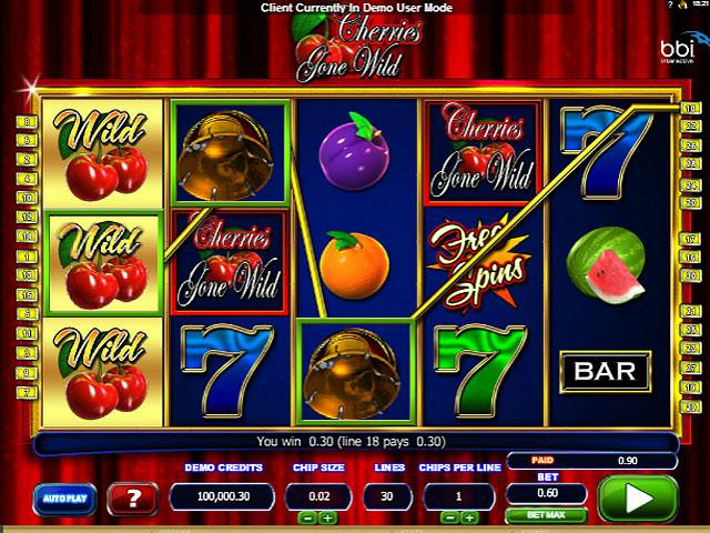 Cherries Gone Wild Microgaming spelautomater screenshot