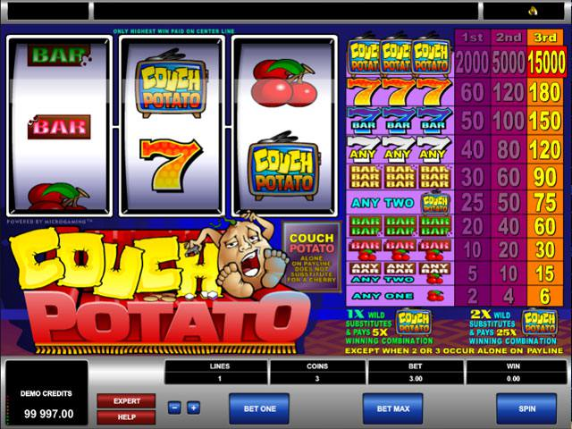 Couch Potato Microgaming spelautomater screenshot