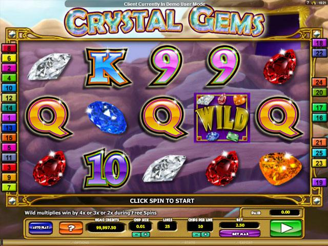 Crystal Gems Microgaming spelautomater screenshot