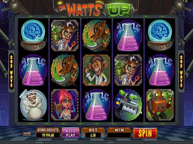 Dr Watts Up Microgaming <a href='https://wyrmspel.com/online-casino/bethard/'>spelautomater screenshot</a>&#8221; width=&#8221;640&#8243; height=&#8221;480&#8243; /></p><h2>Beskrivning av Dr Watts Upp</h2><p>Den här enarmade banditen ställer till spelares förfogande fem hjul samt 243 varianter för att bygga vinstkombinationer. Man kan göra en minimal insats på en mynt eller multiplicera insatser med tjugo gånger: från en mynt till tjugo. En maximal insats är 120 mynt. Som du ser dina insatser beror på dig och dina pengar. Symboler som är tillgängliga i spelet är porträtt av forskare, hans assistent, en apa, en robot, mikroskop och andra saker som behövs för experiment. Man kan också experimentera med särskilda symboler. Som en vild symbol fungerar porträtt av forskare. Wild har sina vanliga funktioner: den ersätter andra bilder och hjälper att göra vinstkombinationer. Scatter är ett tecken som är symbol för kärnkraft. Tre av dessa tecken startar gratis free spins. För att öppna ett bonusspel behöver man att vänta på en vit råtta på hjul. <a href='https://wyrmspel.com/online-casino/ahabingo/'>Bonusspelet gör det möjligt</a> att få större utbetalningar. Slotten kommer från <a href=