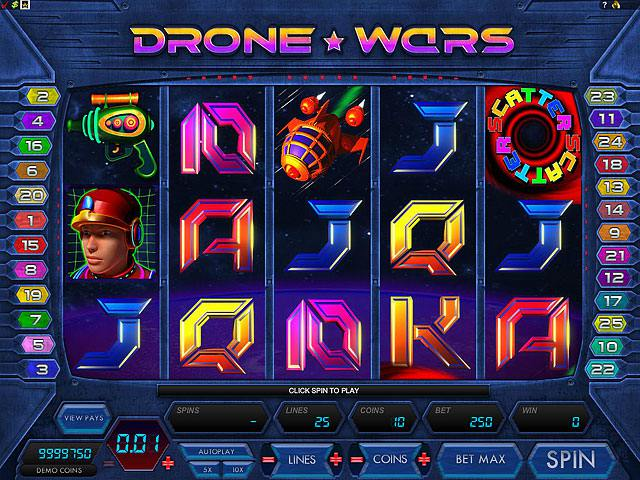 Drone Wars Microgaming spelautomater screenshot