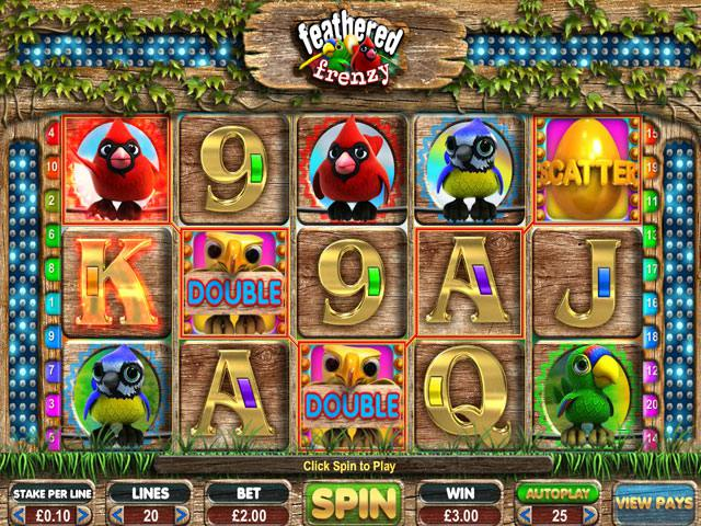 Feathered Frenzy Microgaming spelautomater screenshot