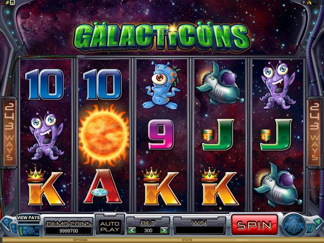 Galacticons Microgaming spelautomater screenshot