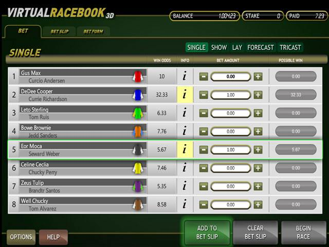 Virtual Racebook 3D Betsoft spelautomater slider