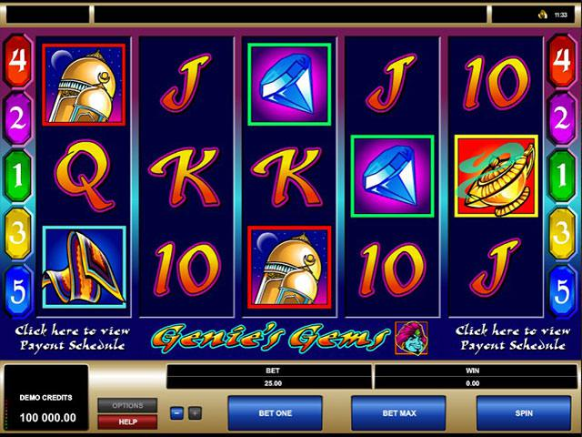 Genies Gems microgaming spelautomater screenshot