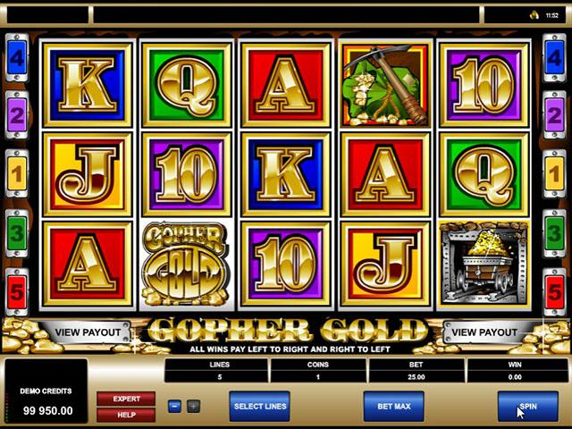 Gopher Gold microgaming spelautomater screenshot