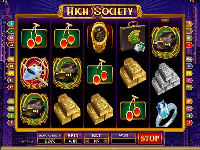 High Society microgaming spelautomater screenshot