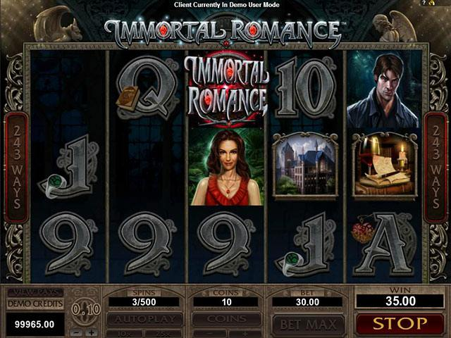 Immortal Romance microgaming spelautomater screenshot