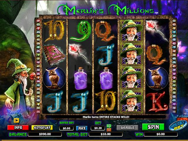 Merlin's Millions Microgaming spelautomater screenshot