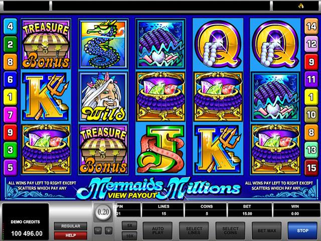 Mermaids Millions Microgaming spelautomater screenshot