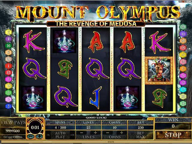 Mount Olympus Revenge of Medusa Microgaming spelautomater screenshot