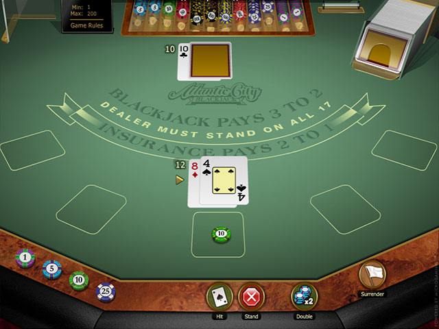 Atlantic City Blackjack Gold Microgaming screenshot