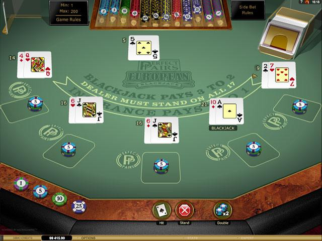 Multi-Hand Perfect Pairs Blackjack Gold Microgaming screenshot