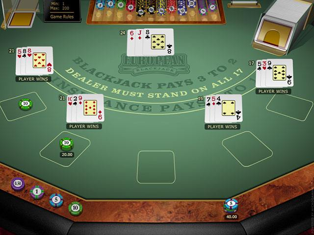 Multi-hand European Blackjack Gold Microgaming screenshot