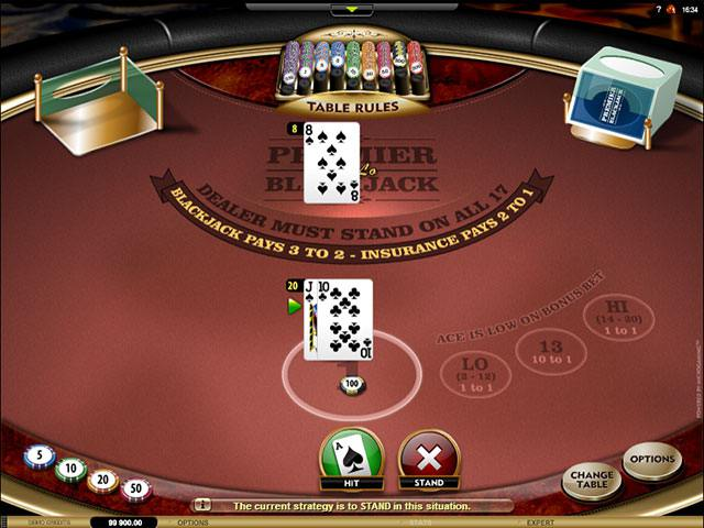 Premier Blackjack Hi Lo Gold Microgaming screenshot