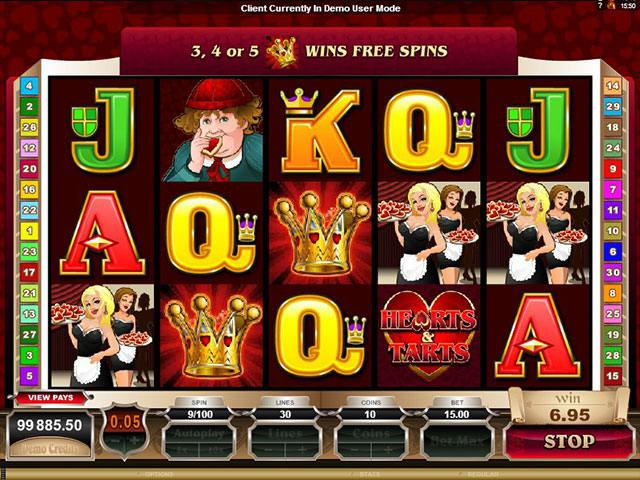 Rhyming Reels - Hearts & Tarts Microgaming spelautomater screenshot