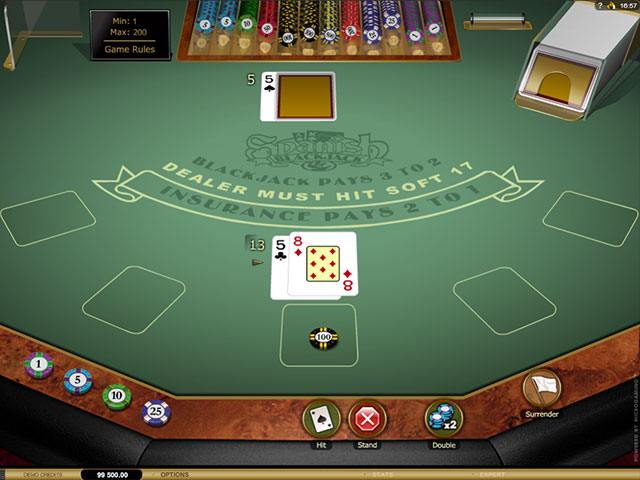 Spanish 21 Blackjack Gold Microgaming screenshot