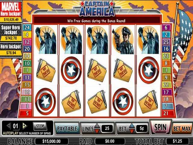 Spelautomater Captain America, Cryptologic SS - Wyrmspel.com