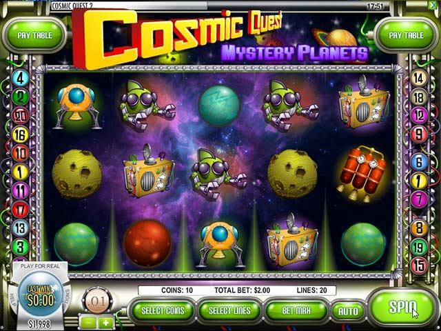 Spelautomater Cosmic Quest: Mystery planets, Rival Gaming SS - Wyrmspel.com