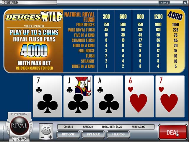 Videopoker Deuces Wild, Rival Gaming SS - Wyrmspel.com