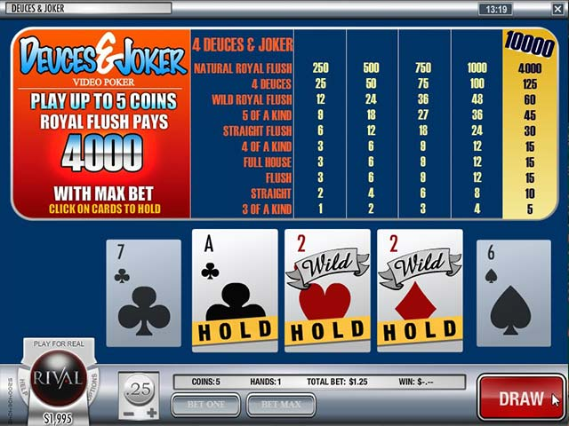 Videopoker Deuces and Joker, Rival Gaming Slider - Wyrmspel.com