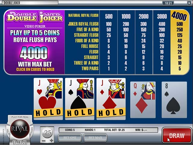 Videopoker Double Joker, Rival Gaming SS - Wyrmspel.com