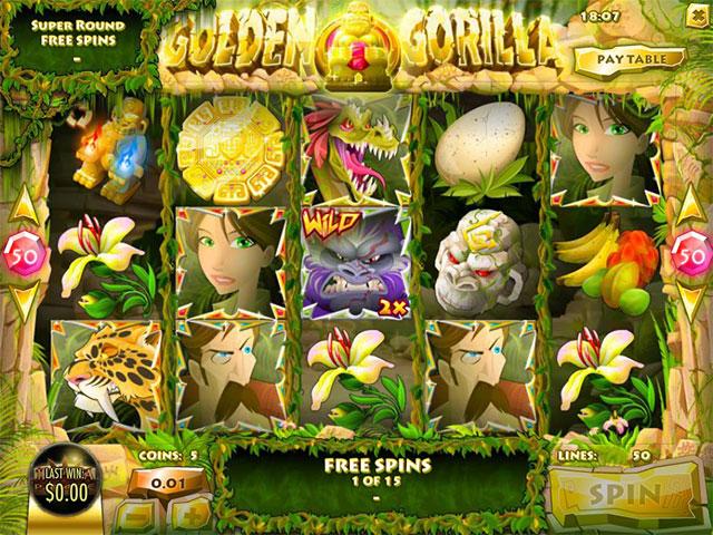 Spelautomater Golden Gorilla, Rival Gaming SS - Wyrmspel.com
