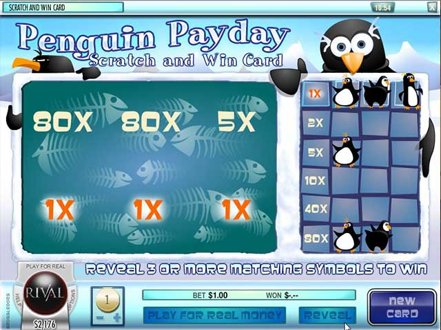 Scratch Penguin Payday, Rival Gaming SS - Wyrmspel.com