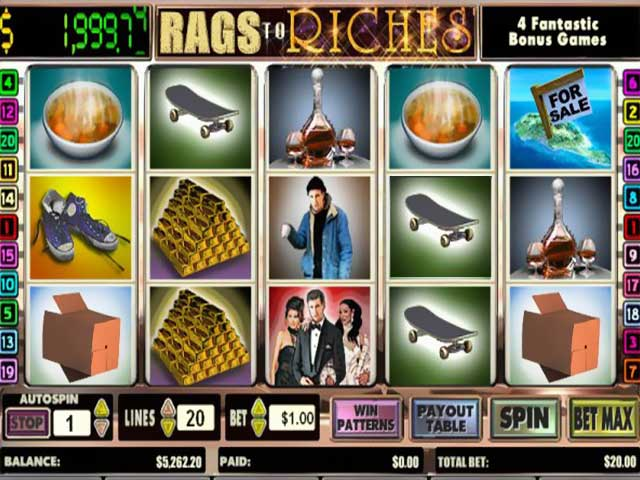 Spelautomater Rags to Riches 20 lines, Cryptologic SS - Wyrmspel.com