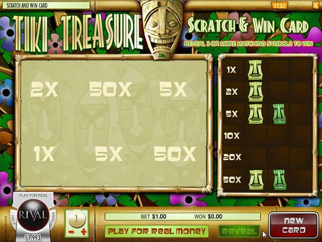 Scratch Tiki Treasure, Rival Gaming SS - Wyrmspel.com