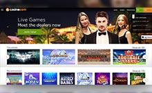 Casino.com kasino översyn skärmdump på  wyrmspel.com 2