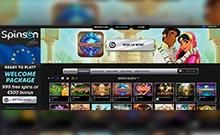 Spinson kasino översyn skärmdump på  wyrmspel.com 2