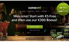 ComeOn kasino översyn skärmdump på  wyrmspel.com 2