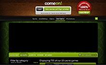 ComeOn kasino översyn skärmdump på  wyrmspel.com 4